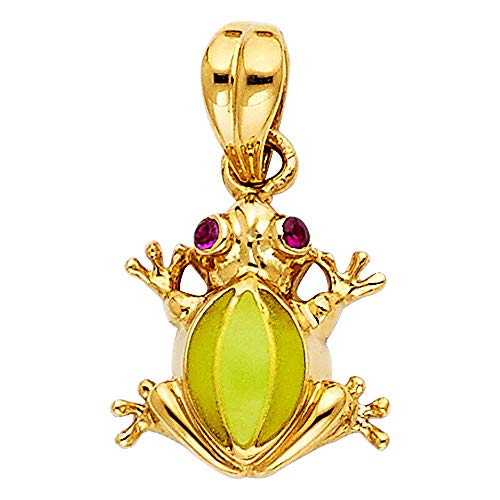 (Wellingsale 14K Yellow Gold Polished Frog Charm Pendant)