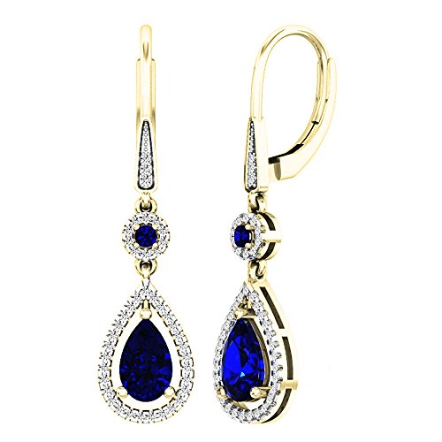 - Dazzlingrock Collection 14K 8X5 MM Each Lab Created Round & Pear Blue Sapphire & Round Diamond Dangling Earrings, Yellow Gold