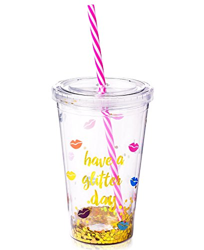 16 Travel Tumbler Johnson Oz (Tri Coastal Design Betsey Johnson xox Trolls Glitter Cup with Straw)