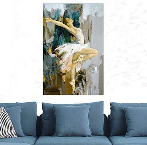 GWFVA Decoración Moderna para el hogar, Cuadros de Arte de Pared Pintados a Mano, Figura de Mujer, Pinturas al óleo sobre Lienzo, niña Grande, Bailarina de Ballet, Pintura, Regalos