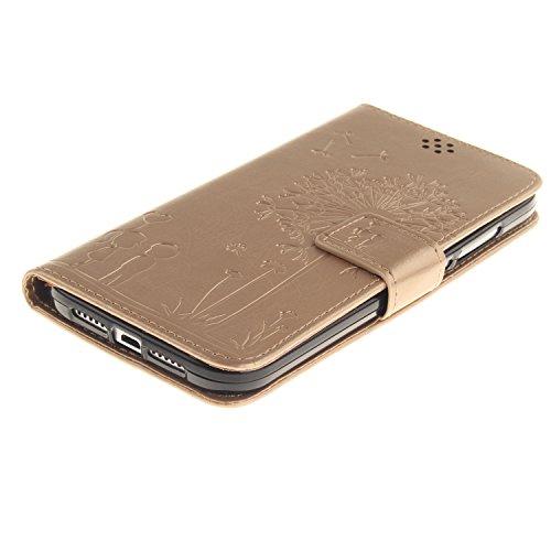 Funda Huawei G8, SsHhUu Lujo [Dandelion Embossing] Magnética Stand Card Slot PU Cuero Flip Protector Billetera Slim Carcasa Tapa Case Cover + Stylus Pen para Huawei G8 / Huawei GX8 (5.5) Púrpura Oro