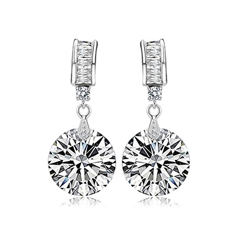 Beydodo Gold Plated Earrings Stud for Womens White Bright Cubic Ziconia Wedding Ear-Pins for Brides