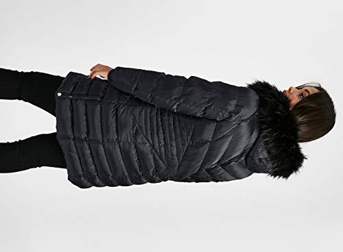 Satinado Marino De Oscuro Acolchado Con Invierno Ex Navy Sintética Piel Abrigo Azul Evans Cuello P4npxw6Hq