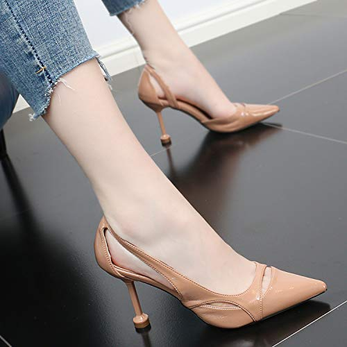 Fashionable Thin 9Cm Pointy In Hollowed Comfortable Summer And And High Women'S Thin Heel Shoes Out Sexy Apricot SFSYDDY Slim color 8wqd8v