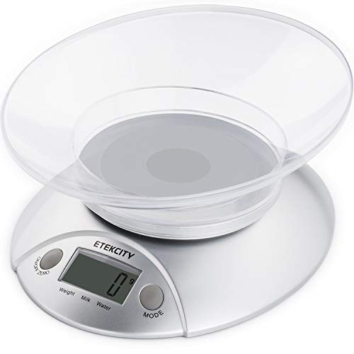 Etekcity Digital Kitchen Food Scale and Multifunction Weight Scale with Removable Bowl, 11 lb ()