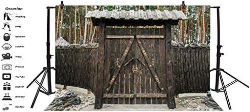 EdCott 10x8ft Exterior Puerta de Madera Telón de Fondo Cabaña de Madera Rural País Paisaje Adornado Tallado Puerta de Madera Vieja Puertas Bosque de pinos Fondo Sesión de Fotos Accesorios de Estudio: