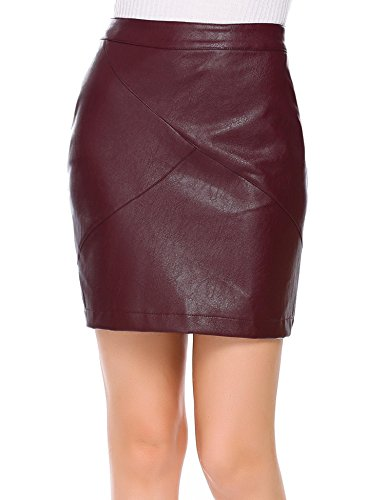 Loveje Sexy Leather Skirt Women Vintage High Waist Classic Slim Mini Pencil Skirt (M, Dark Red)