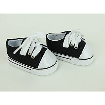 American Fashion World Black Sneakers fits 18 Inch Doll: Toys & Games