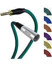 EBXYA Cable macho TRS a XLR, cable de interconexión de guitarra macho TRS a XLR de 1/4 pulgada y 6,35 mm equilibrado, cable de conexión de un cuarto de pulgada a XLR, verde, 25 pies