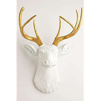 White Faux Taxidermy The Alfred White Resin Deer Sculpture Head with Metallic Gold Faux Antlers Wall Decor