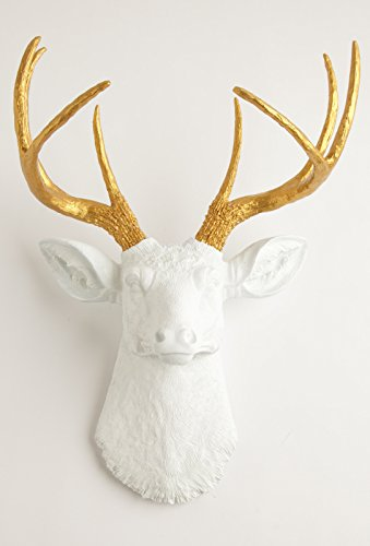 White Faux Taxidermy The Alfred White Resin Deer Sculpture Head with Metallic Gold Faux Antlers Wall (Resin Deer Antlers)