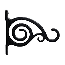 GrayBunny GB-6836A Fancy Curved Hook, Black, Cast Iron Wall Hooks For Bird Feeders, Planters, Lanterns, Wind Chimes, As Wall Brackets and More!