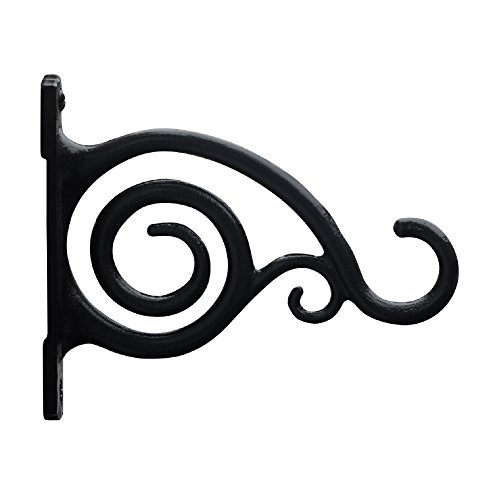 Gray Bunny GB-6836A Fancy Curved Hook, Black, Cast Iron Wall Hooks for Bird Feeders, Planters, Lanterns, Wind Chimes, As Wall Brackets and More! ()