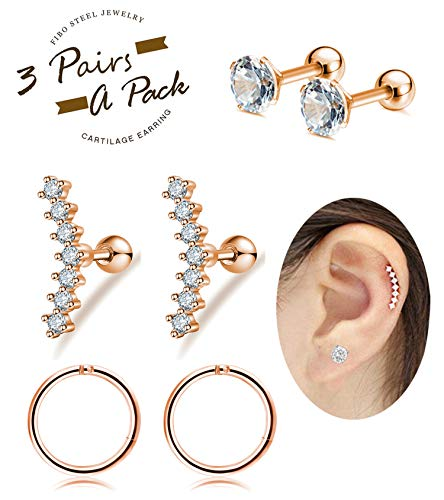 FIBO STEEL 16G Cartilage Tragus Earrings Set for Women Girls Helix Conch Daith Piercing Jewelry Rose Gold-tone