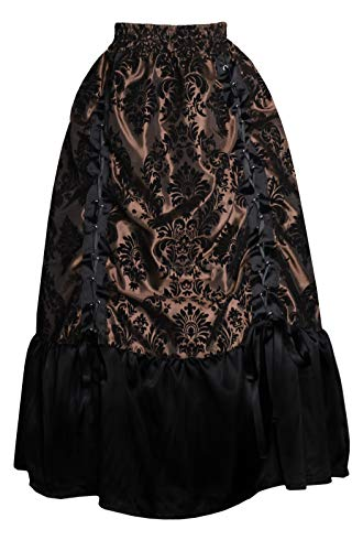 Cykxtees Patterned Gothic Victorian Steampunk Theater Adjustable Bustle Skirt Brown Black