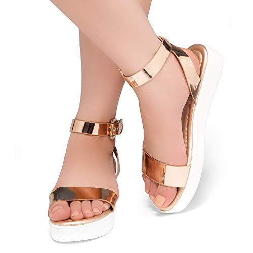 0b358157fc Herstyle Needed Me Women's Fashion Ankle Strap Buckle Low Wedge Platform  Heel Comfortable Sandals Shoes