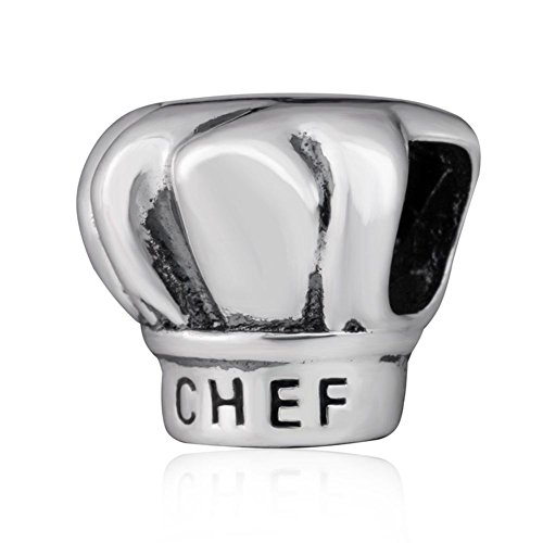 Choruslove I Love Cooking Chef Hat Charm 925 Sterling Silver Bead for European Brand Bracelet ()