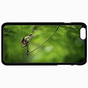 Personalized Protective Hardshell Back Hardcover For iPhone 6 Plus, Frog Background Nature Design In Black Case Color