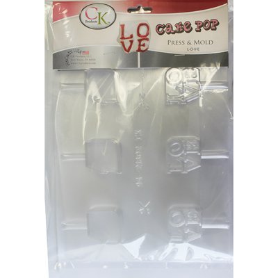 CK PRODUCTS CHOCOLATE CANDY CAKE MOLD VALENTINES DAY LOVE CAKE POP PRESS & MOLD L-O-V-E PACKAGE OF 3