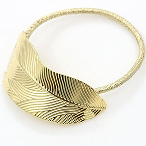 Price comparison product image Iumer Women's Leaf Shape Hair Rope Metal Elastic Rubber Band