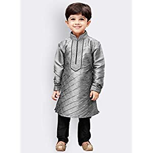 JBN Creation Boys Cotton Silk Kurta and Pyjama Set (Grey_VASBKGY004nPBL)