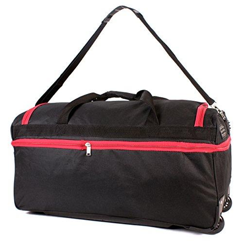 ks-ex-10027inch nero rosso espandibile grande borsone da viaggio con ruote borsa da viaggio