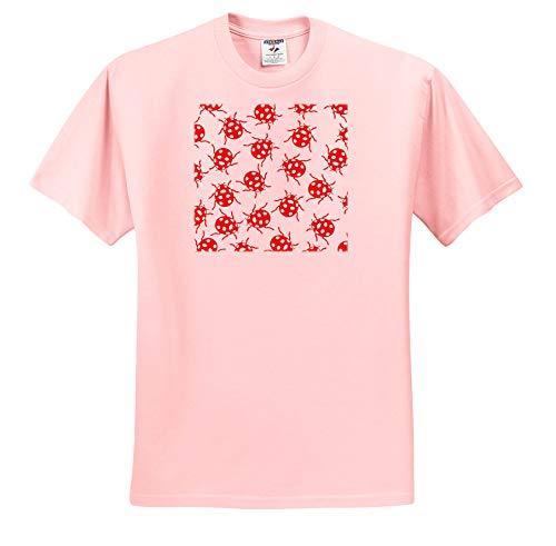 3dRose Russ Billington Patterns - Cute Red and White Ladybug Pattern - T-Shirts - Adult Light-Pink-T-Shirt Small (ts_291610_34)