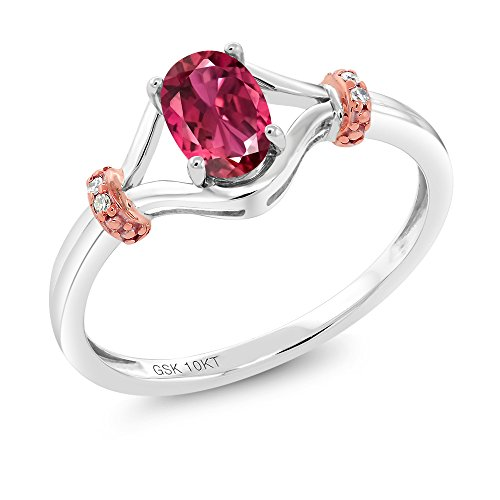 Gem Stone King 10K 2 Tone Gold 0.41 Ct Oval Pink Tourmaline AAA and Diamond Engagement Ring (Size 9) ()