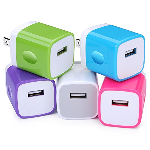 USB Wall Plug, Ououdee 5-Pack 1AMP [Upgraded] Home Travel Wall Adapter Charging Plug Compatible iPhone 8/7 Plus/6 Plus/6s Plus, iPad, Tablet, Samsung Galaxy S8 Plus/S7/S6/Note 8, LG, HTC, Sony, Nokia