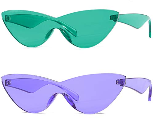 Colorful One Piece Rimless Transparent Cat Eye Sunglasses for Women Tinted Candy Colored Glasses (Lake ()