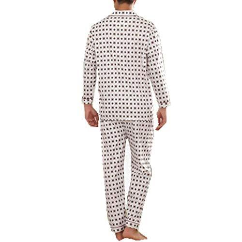 Algodón Conjunto Baño Plaid Pijama Estilo Pijamas 2 Punto Service Colour Simple Hombre Cardigan Loungewear De Home T4wq7Evn