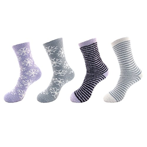 Super Soft Sock Yarn (Feather Yarn Super Soft Warm Fuzzy Comfy Home Outdoor Socks - 4 Prs - Assortment F)