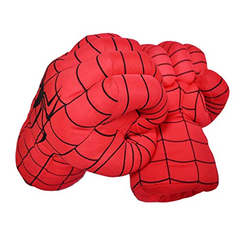 HuangWeida Spider Man Toys Superhero Spider-Man Gloves Smash Soft Plush Fists Pairs Costume Spiderman Boxing Gloves for Kids Far from Home]()