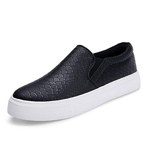 Le Fu/mujer de zapatos de moda británica/suela gruesa negro zapatos/Zapatos del ocio/mollete fondo negro zapato B
