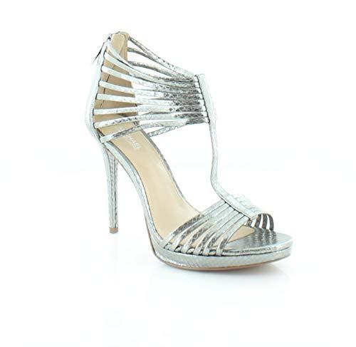 Embossed Metallic Leather (Michael Michael Kors Women's Leann Metallic Embossed Leather Lt Pewter Size 6.5 US Sandals)