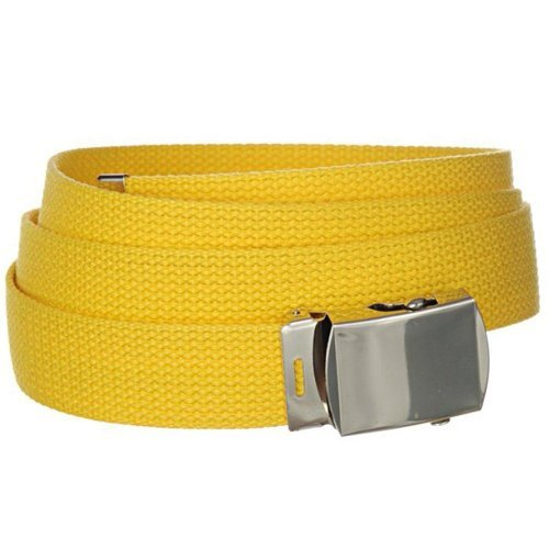 Yellow One Size Canvas Military Web Belt With Silver Slider Buckle ()