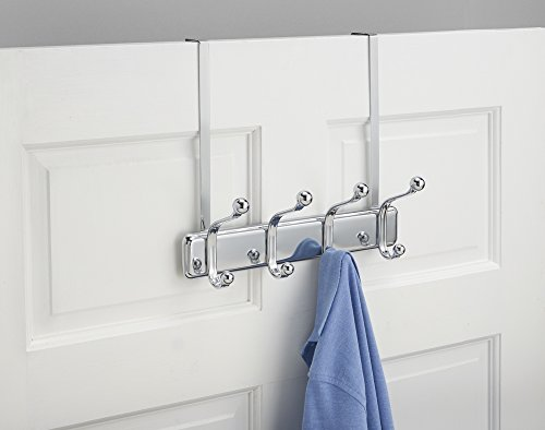 mDesign Over the Door 8-Hook Rack for Coats, Hats, Robes, Towels - Chrome by mDesign