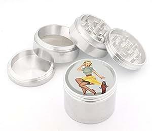 Vintage Pin Up Girl Design Medium Size 4pcs Aluminum Herbal or Tobacco Grinder # G50-92415-21
