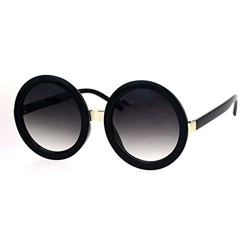Womens Thick Plastic Round Circle Lens Mod Designer Sunglasses Black - Round Sunglasses Mod