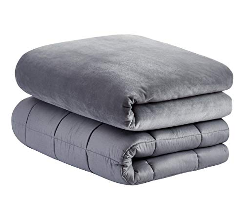 ZZZhen Weighted Blanket for All (Minky Grey, 48''72'' - 15LB)