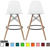 "2xhome Set of 2 Clear 25"" Mid Century Modern Molded Shell Acrylic Plastic Eiffel Dowel Bar Stool Barstool Chairs Chair With Back Side Armless For Kitchen Commercial Home Outdoor Garden Patio Ghost DSW"