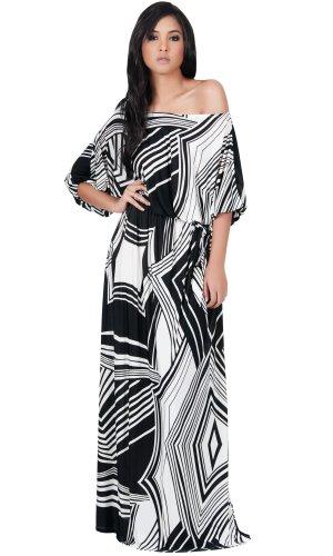 KOH KOH Womens Long One Shoulder 3/4 Short Sleeve Summer Print Gown Maxi Dress