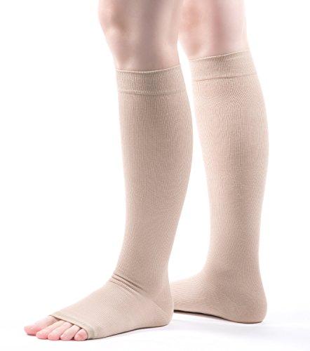 Allegro 15-20mmHg Premium 115 Italian Cotton Knee High Open Toe Compression Sock ()