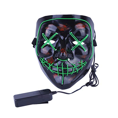 Halloween Mask LED Light up Purge Mask Frightening Wire Cosplay for Festival Parties Costume Received Before Halloween(Green)