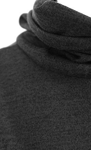 La Vogue Sans Manche Col Roulé Robe Femme Mi-Longue Moulante Fourreau, Gris, Buste94cm