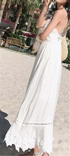 Beach Jaycargogo Dress V Maxi Spaghetti Backless Neck White Womens Strap x8YBwq8r