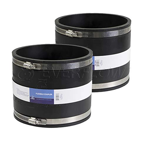 EVERCONNECT 4839x2 Flexible Pvc Coupling with Stainless Steel Clamps 8 inch Black (pack of 2)