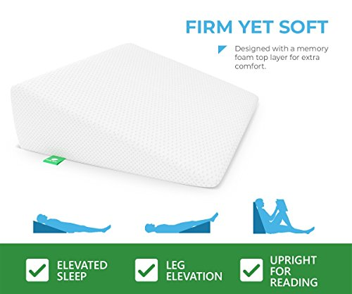 Bed Wedge Pillow with Memory Foam Top by Cushy Form - Best for Sleeping, Reading, Rest or Elevation - Breathable and Washable Cover (7.5 Inch Wedge, White) by Cushy Form (Image #3)