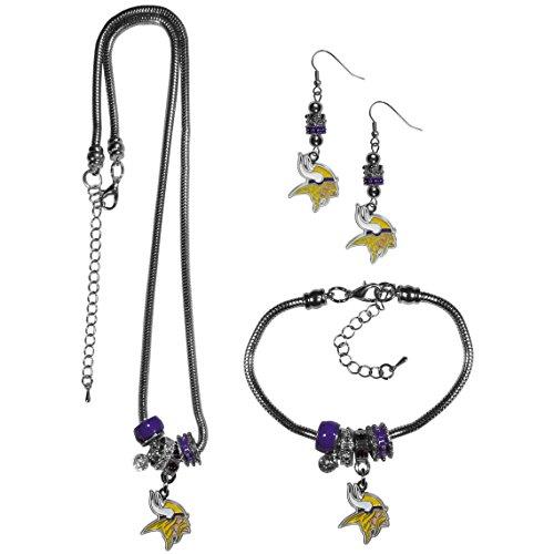 Siskiyou NFL Minnesota Vikings Euro Bead Jewelry Set of 3 -