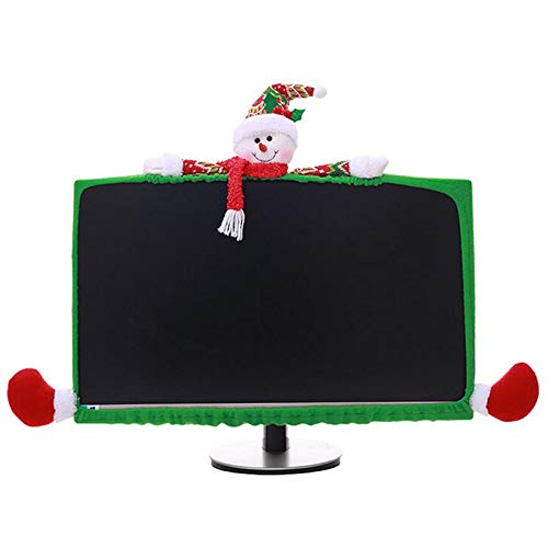 Christmas Decorations Ideas For Office (PartyYeah Christmas Computer Monitor Cover, Elastic Xmas Decorations Reindeer Computer Monitor Border Cover, Elastic Laptop Computer Cover for Xmas Home Office Decor and New Year Gift)